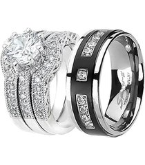 his black titanium her sterling silver 2.51cttw wedding engagement ring band set