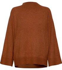 cleosz high neck pullover stickad tröja brun saint tropez
