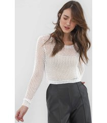 blusa cropped my favorite thing(s) tricot metalizada branca