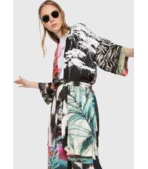 kimono negro-multicolor desigual