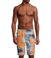 roberto cavalli men's tie-dye swim trunks - natural - size xxl
