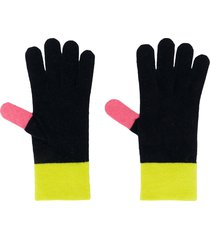 chinti and parker contrasting panel knit gloves - blue