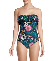 ruffled moody floral one-piece swimsuit