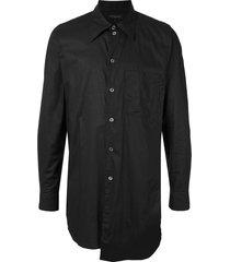 ann demeulemeester long chest patch pocket shirt - black