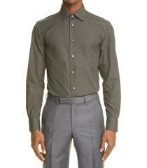men's ermenegildo zegna trofeo comfort button-up shirt, size 42 - grey