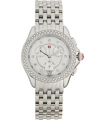 logo diamond stainless steel bracelet watch