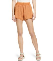 women's blanknyc elastic waist linen shorts, size large - orange