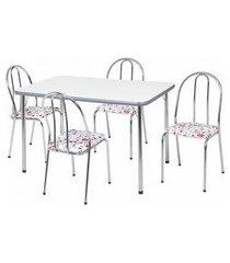 conjunto de mesa de jantar com 4 cadeiras cristal corino branco e floral