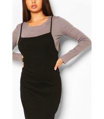 2in1 long sleeve midaxi rib dress, black