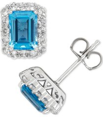 blue topaz (2-1/3 ct. t.w.) & white topaz (3/4 ct. t.w.) stud earrings in sterling silver