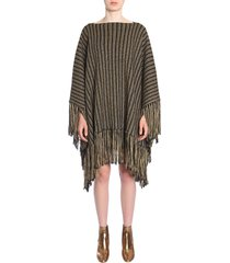 saint laurent fringed poncho