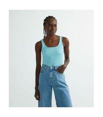 blusa regata canelada em algodão com decote quadrado | blue steel | azul | m