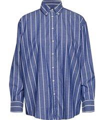 d1. striped chambray shirt overhemd met lange mouwen blauw gant