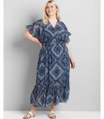 lane bryant women's crossover smocked-waist chiffon midi dress 26/28 blue bandana