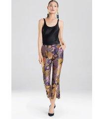 natori floral patchwork pants, women's, size 2