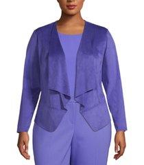 anne klein plus size faux-suede open-front jacket