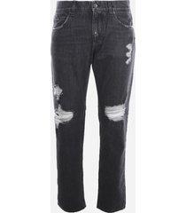 dolce & gabbana distressed cotton denim jeans