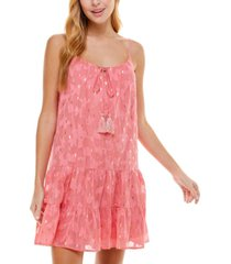 crystal doll juniors' printed lurex burnout dress