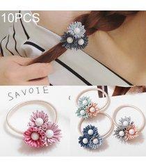 10 pcs pearl flor de goma elastica banda daisy pelo pelo anillo color al azar entrega