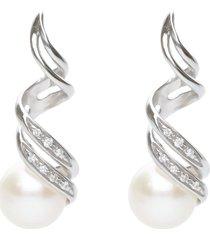 orecchini in oro bianco, perle e diamanti 0,06 ct per donna