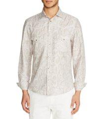 tallia men's slim fit western snake skin long sleeve shirt