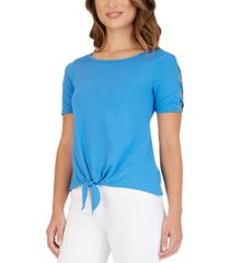 bcx juniors' lattice-sleeve tie-front top