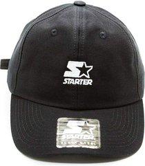 bonã© starter aba curva strapback dad cap solid preto - preto - masculino - dafiti