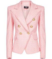 balmain cotton tweed double-breasted blazer