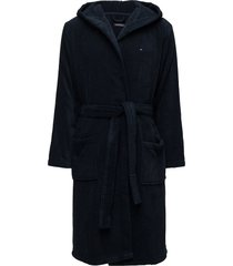 hooded bathrobe ochtendjas badjas blauw tommy hilfiger