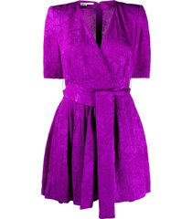 stella mccartney floral jacquard belted playsuit - purple