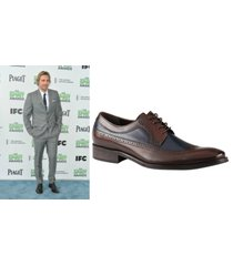 handmade dax shepard wearing two tone brogue formal leather shoes, mens shoes