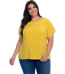 blusa plus size art final t-shirt viscose amarela slub