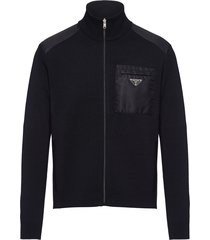 prada triangle logo zip-up cardigan - black