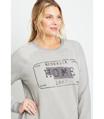 maurices plus size womens gray nebraska crew neck sweatshirt