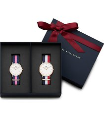 classic cambridge & winchester rose goldtone stainless steel nato watch gift set