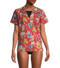 onia women's vacation shirt cover-up - red - size s
