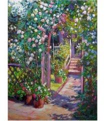 "david lloyd glover rose cottage gate canvas art - 37"" x 49"""