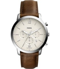 fossil men's neutra chronograph brown leather strap watch 44mm