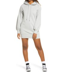 women's bp. long sleeve hooded sweatshirt dress, size small - grey