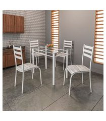 conjunto de mesa com tampo de vidro e 4 cadeiras istambul cinza