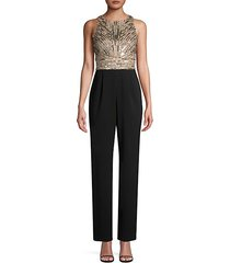 sleeveless sequined bodice jumpsuit