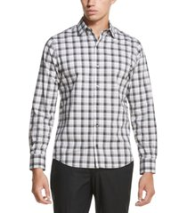 dkny men's french placket plaid performance stretch woven shirt