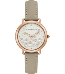 bcbgmaxazria ladies beige leather strap with floral dial with rose gold case, 34mm