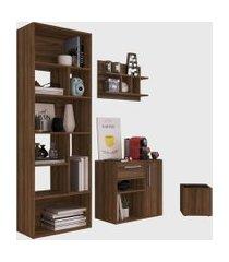 conjunto para escritório 01 livreiro/balcáo multiuso/prateleira/cachepôt madeirado modern office e estilare móveis marrom