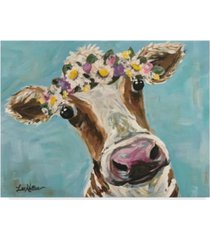 "hippie hound studios cow miss moo moo turquoise flower crown canvas art - 37"" x 49"""
