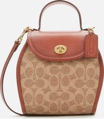 coach 1941 women's runway coach originals coated canvas signature turnlock curved top handle bag - tan rust