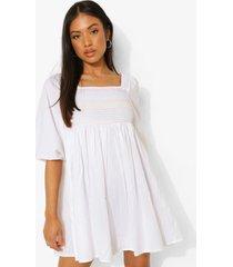 geplooide gesmokte jurk met rug strik, white