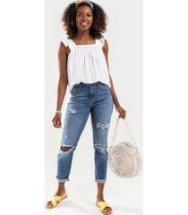 women's harper heritage distressed straight leg cuff jeans in denim by francesca's - size: 30
