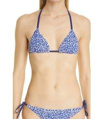 women's lemlem halima leopard triangle bikini top, size x-large - blue