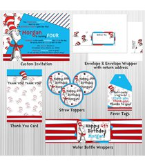 cat in the hat, dr. seuss, complete birthday package: printable, invitation
